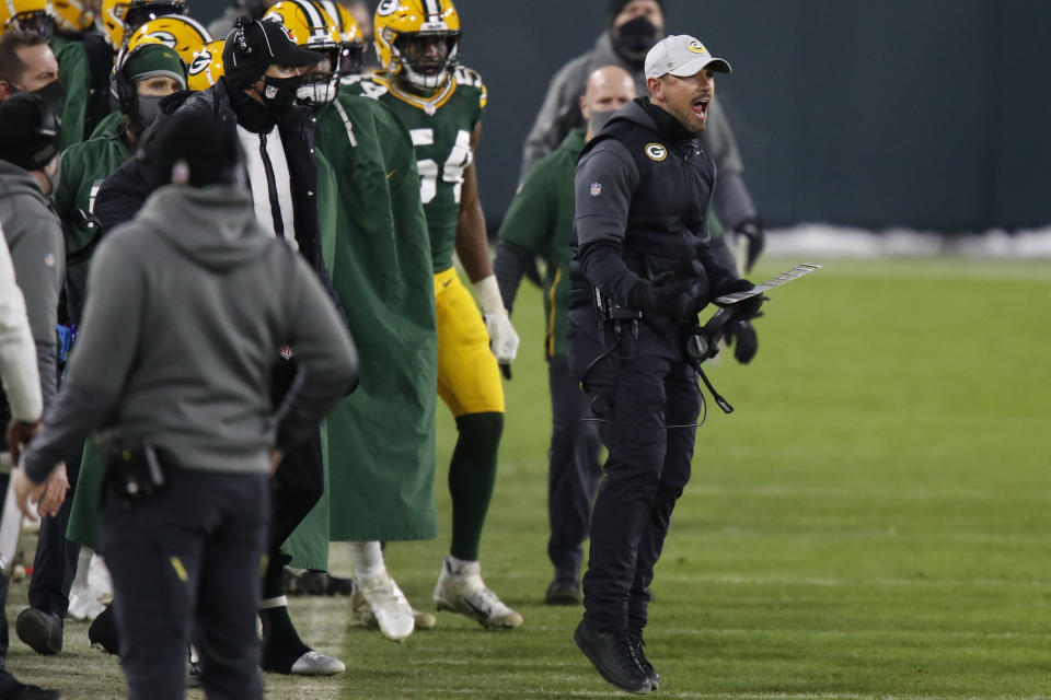 Green Bay Packers head coach Matt LaFleur reacts after a pass interference call was made against Green Bay during the second half of the NFC championship NFL football game against the Tampa Bay Buccaneers in Green Bay, Wis., Sunday, Jan. 24, 2021. (AP Photo/Matt Ludtke)