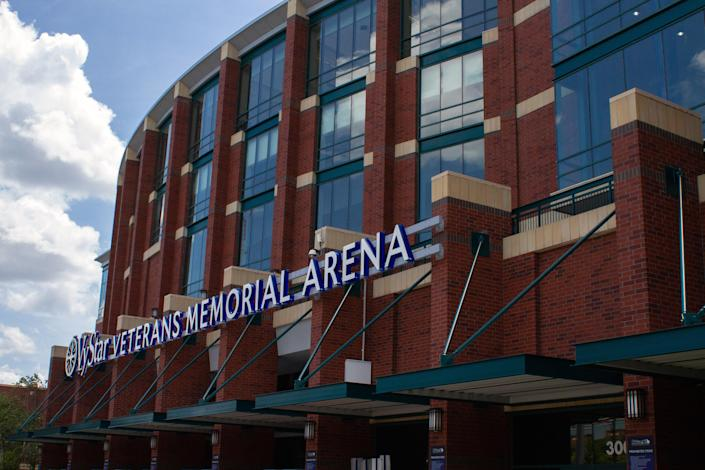 Vystar Veterans Memorial Arena in Jacksonville, Fla., site of the upcoming Republican National Convention, on June 29, 2020. (Malcolm Jackson/The New York Times)