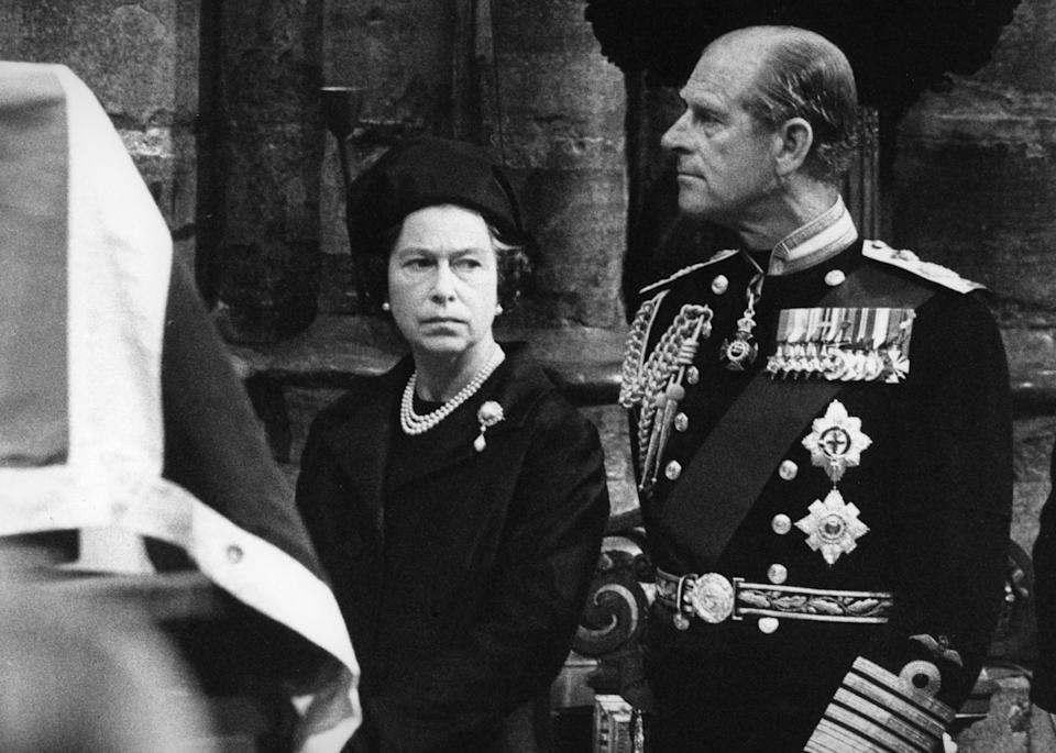The Queen and Prince Philip looking sullen in the wake of the assassination of Lord Mountbatten. The Duke's uncle was killed by the IRA while in County Sligo in the Republic of Ireland.