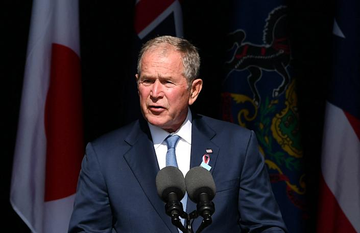 Former US President George W. Bush speaks during a 9/11 commemoration at the Flight 93 National Memorial in Shanksville, Pennsylvania on September 11, 2021. - America marked the 20th anniversary of 9/11 Saturday with solemn ceremonies given added poignancy by the recent chaotic withdrawal of troops from Afghanistan and return to power of the Taliban. (Photo by MANDEL NGAN / AFP) (Photo by MANDEL NGAN/AFP via Getty Images)