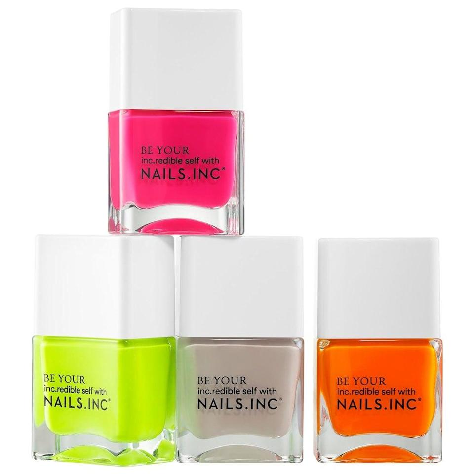 <p>Let them go out of their comfort zone and try out the <span>Nails Inc. Naked In Neon Nail Polish Set</span> ($22). They can create stunning nail art or just sport bright colors for the summer.</p>