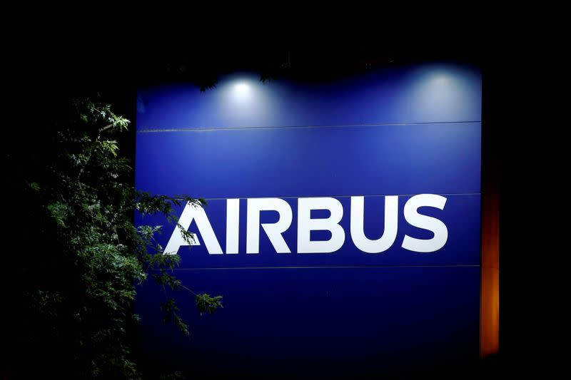 FILE PHOTO: FILE PHOTO: A logo of Airbus is seen at the entrance of its factory in Blagnac near Toulouse