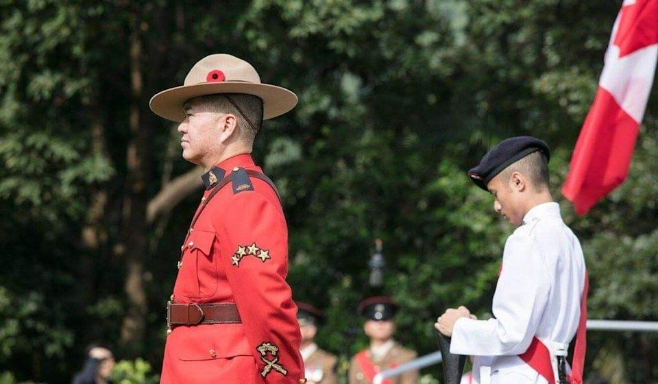 Ben Chang, who was the Royal Canadian Mounted Police liaison officer in Hong Kong, attends the Canadian Commemorative Ceremony at the Sai Wan War Cemetery in December 2017. Photo: SCMP Picture / Global Affairs Canada