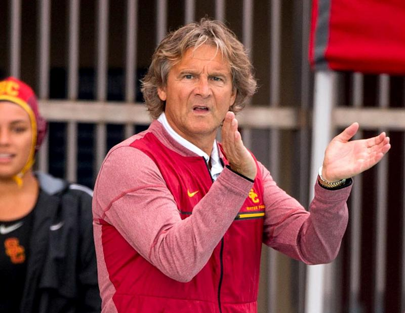 USC men's and women's water polo coach Jovan Vavic is among nearly 50 people charged in an admissions bribery scheme. PICTURED: May 12, 2018 - Los Angeles, California, U.S. - USC head coach JOVAN VAVIC cheers his team on during the game between the USC Trojans vs the UCLA Bruins in the semifinals of the women's NCAA water polo championships at the Uytengsu Aquatics Center. USC defeated UCLA 10-6. (Credit Image: Juan Lainez/Marinmedia/Cal Sport Media/CSM via ZUMA Wire)
