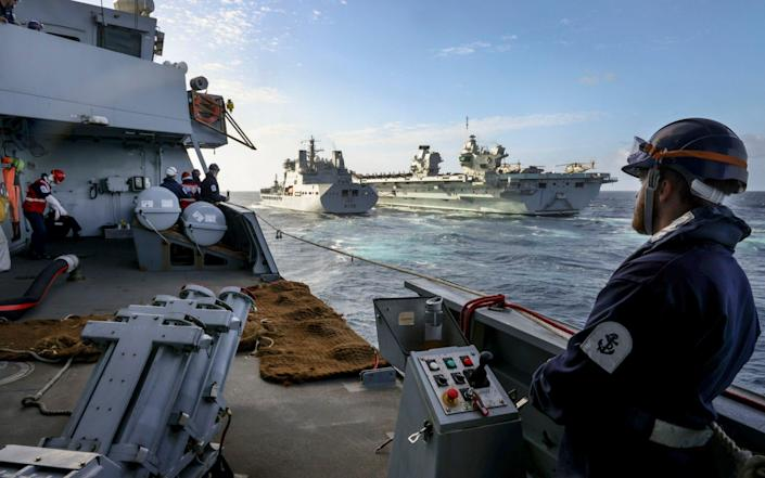 The HMS Defender is part of the Carrier Strike Group - ROYAL NAVY