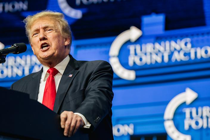 Former President Trump - in statements and at rallies - has continued to perpetrate falsehoods about the 2020 election and the events of Jan. 6, 2021. (Brandon Bell/Getty Images)