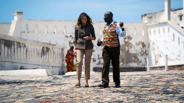 PHOTO: Accompanied by museum educator Kwesi Essel-Blankson, first lady Melania Trump tours the Cape Coast Castle in Cape Coast, Ghana, one of dozens of hubs of the transatlantic slave trade, Oct. 3, 2018 during her trip to four African countries. (Doug Mills/The New York Times via Redux)