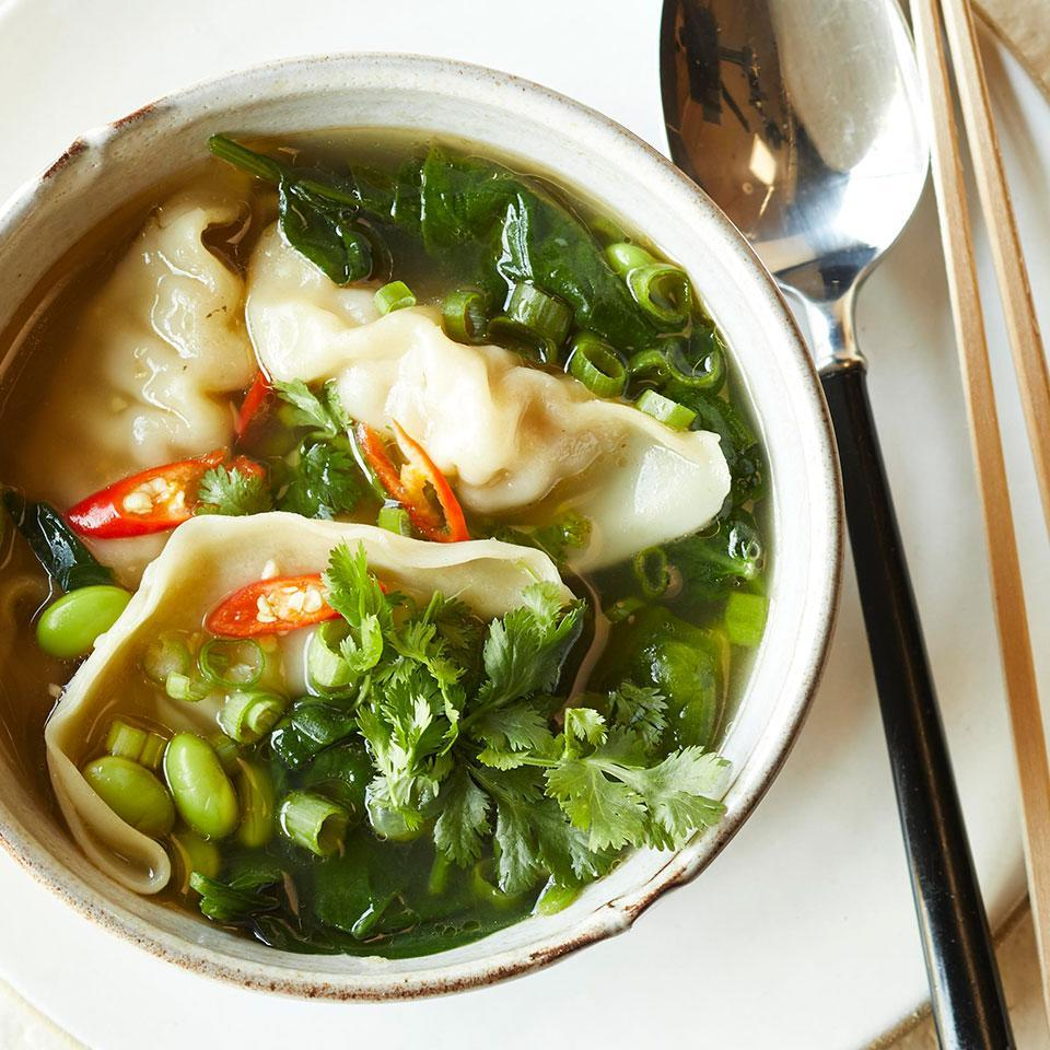 """<p>Skip the frying pan and make a full meal out of store-bought dumplings with this quick and easy 30-minute soup. Shao Hsing (or Shaoxing) is a seasoned rice wine used in Chinese cooking. Look for it in Asian specialty markets or with other Asian ingredients in large supermarkets. <a href=""""http://www.eatingwell.com/recipe/268735/potsticker-vegetable-soup/"""" rel=""""nofollow noopener"""" target=""""_blank"""" data-ylk=""""slk:View recipe"""" class=""""link rapid-noclick-resp""""> View recipe </a></p>"""