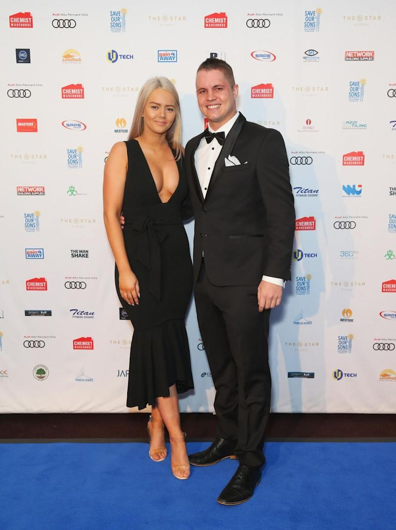 Johnny Ruffo and Tahnee Sims at the Save Our Sons charity gala in Sydney. Source: Getty