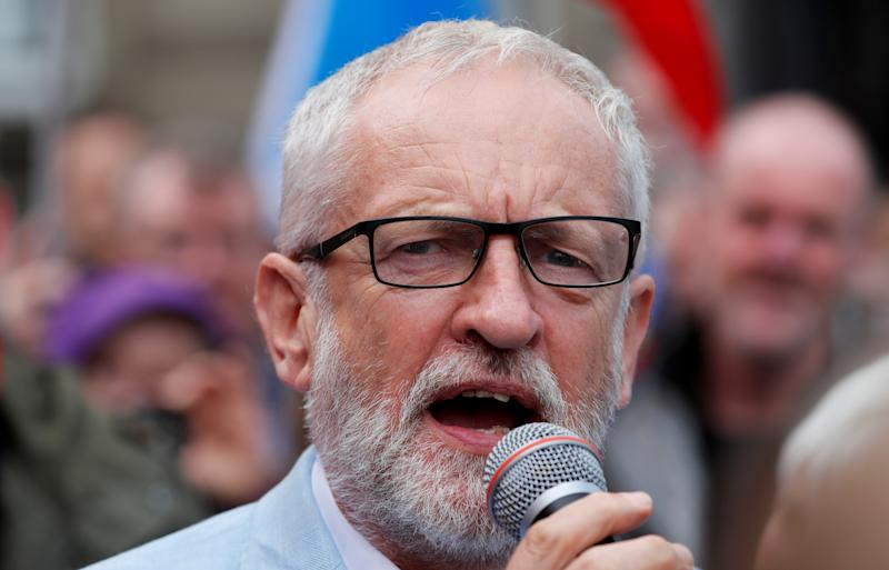 Britain's opposition Labour Party leader Jeremy Corbyn speaks during an anti-Brexit demonstration at George Square in Glasgow