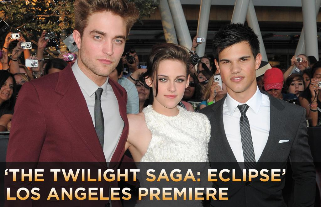 """Last night, amid throngs of screaming fans, the stars of <a href=""""http://movies.yahoo.com/movie/1810074301/info"""">The Twilight Saga: Eclipse</a> walked the black carpet in downtown Los Angeles. <a href=""""http://movies.yahoo.com/movie/contributor/1808623206"""">Robert Pattinson</a> sported a bold burgundy ensemble and a new coiff (cut for his upcoming flick <a href=""""http://movies.yahoo.com/movie/1810161083/info"""">Water for Elephants</a>); <a href=""""http://movies.yahoo.com/movie/contributor/1807776250"""">Kristen Stewart</a> looked more polished than in previous """"Twilight"""" premieres, wearing an asymmetrical sequined frock; and <a href=""""http://movies.yahoo.com/movie/contributor/1808598632"""">Taylor Lautner</a> channeled his inner Don Draper in his sleek silver suit. Click ahead to see what other Twilight members wore last night along with the bevy of other celebs who showed up."""