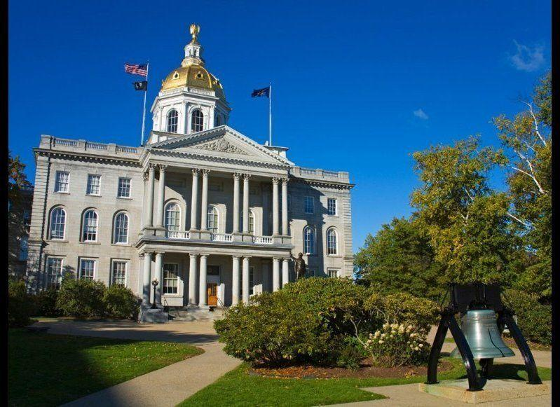 <strong>NEW HAMPSHIRE STATE HOUSE</strong> Concord, New Hampshire <strong>Year completed:</strong> 1819 <strong>Architectural style:</strong> Greek Revival <strong>FYI:</strong> The stately eagle installed on top of the New Hampshire State House's dome may look gold, but it's actually painted wood. The original was removed for preservation and is on display at the New Hampshire Historical Society. A new, gold-leafed eagle was put in its place in the 1950s. <strong>Visit:</strong> Self-guided tours are available Monday to Friday, 8 a.m. to 4:30 p.m. Arrange guided tours through the Visitors' Center.