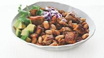 """<p>Although this might not be your typical chili because it's made with white beans, the many ingredients in this recipe spice it up to make it a satisfying dish.</p> <p><a href=""""https://www.thedailymeal.com/best-recipes/pork-and-white-bean-chili?referrer=yahoo&category=beauty_food&include_utm=1&utm_medium=referral&utm_source=yahoo&utm_campaign=feed"""" rel=""""nofollow noopener"""" target=""""_blank"""" data-ylk=""""slk:For the Pork and White Bean Chili recipe, click here"""" class=""""link rapid-noclick-resp"""">For the Pork and White Bean Chili recipe, click here</a>.</p>"""