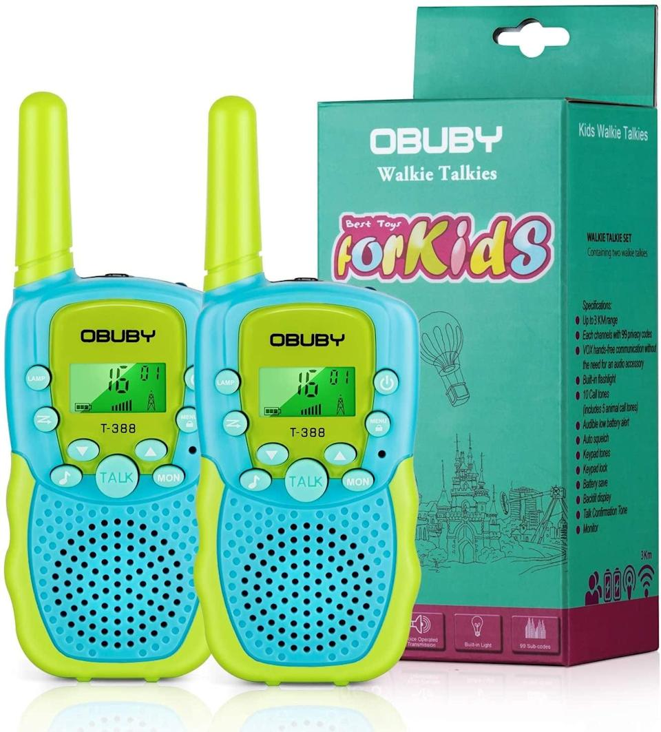 """<p>Walkie talkies are great for <a href=""""https://www.popsugar.com/family/Backyard-Activities-Do-Make-Kids-Summer-37658172"""" class=""""link rapid-noclick-resp"""" rel=""""nofollow noopener"""" target=""""_blank"""" data-ylk=""""slk:backyard scavenger hunts"""">backyard scavenger hunts</a> or a family game of hide and seek. These <a href=""""https://www.popsugar.com/buy/Obuby-Walkie-Talkies-574575?p_name=Obuby%20Walkie%20Talkies&retailer=amazon.com&pid=574575&price=23&evar1=moms%3Aus&evar9=47479532&evar98=https%3A%2F%2Fwww.popsugar.com%2Ffamily%2Fphoto-gallery%2F47479532%2Fimage%2F47479556%2FObuby-Walkie-Talkies&list1=camping%2Ckid%20activities%2Ckid%20shopping%2Cparent%20shopping%2Cstaying%20home&prop13=mobile&pdata=1"""" class=""""link rapid-noclick-resp"""" rel=""""nofollow noopener"""" target=""""_blank"""" data-ylk=""""slk:Obuby Walkie Talkies"""">Obuby Walkie Talkies</a> ($23) are easy to use, have a range of up to three miles, and come in three fun colors.</p>"""