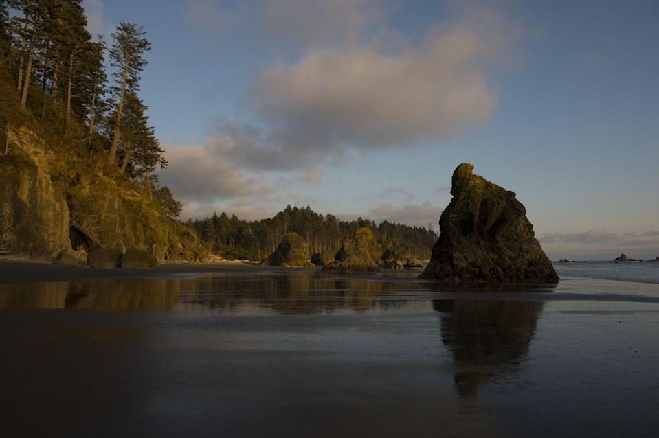 <p>Lone boulders sit on Ruby Beach along the Olympic Peninsula in the Olympic National Park, Washington // January 1, 2013</p>