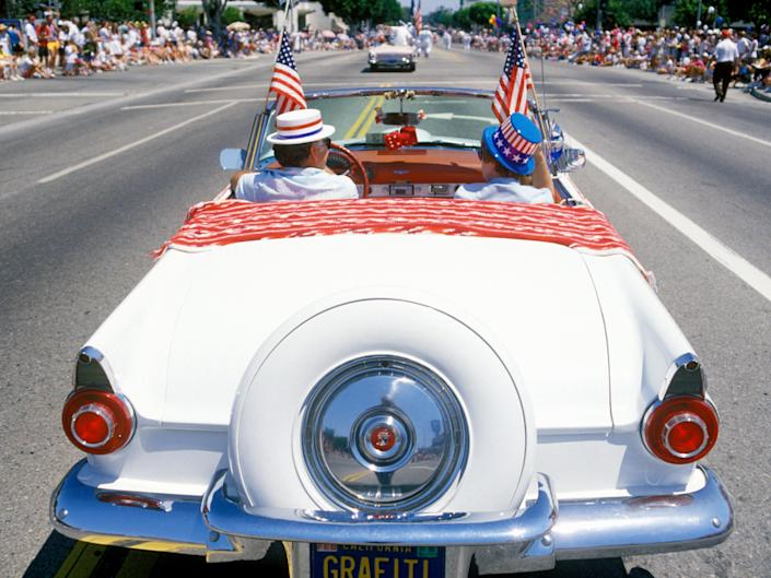 An antique convercigle in a July Fourth parade, Pacific Palisades, California, 1989.
