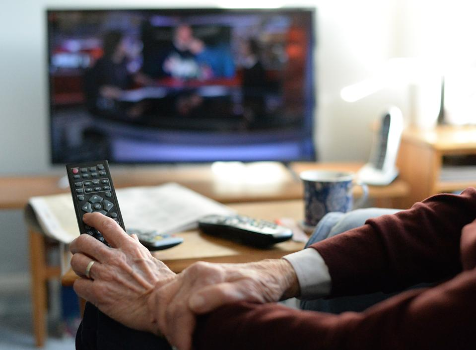 Generic old person watching TV. TV Licensing customers over 75 will remain covered by a free TV licence until 31 May 2020. PA Photo. Picture date: Wednesday January 15, 2020. Following the BBC's policy announcement on the future of the over 75s TV Licence fee, TV Licensing is advising customers currently receiving a free licence that they need not take any immediate action and that they will be supported through the changes when the current arrangement for free over 75 licences paid for by the UK Government comes to an end next year. Further to a public consultation, the BBC has announced that from June next year the BBC will fund a free licence for over 75s in receipt of Pension Credit. Photo credit should read: Nick Ansell/PA Wire (Photo by Nick Ansell/PA Images via Getty Images)
