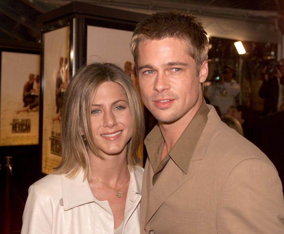 """<p>The two cross paths for the first time, and Hollywood is forever changed. <a href=""""https://www.rollingstone.com/tv/tv-features/interview-jennifer-aniston-171848/"""" rel=""""nofollow noopener"""" target=""""_blank"""" data-ylk=""""slk:In an interview with"""" class=""""link rapid-noclick-resp"""">In an interview with </a><em><a href=""""https://www.rollingstone.com/tv/tv-features/interview-jennifer-aniston-171848/"""" rel=""""nofollow noopener"""" target=""""_blank"""" data-ylk=""""slk:Rolling Stone"""" class=""""link rapid-noclick-resp"""">Rolling Stone</a></em>, Aniston says they first met back in 1994 since their managers were friends. """"[Pitt] was just this sweet guy from Missouri, you know? A normal guy,"""" she said. </p>"""