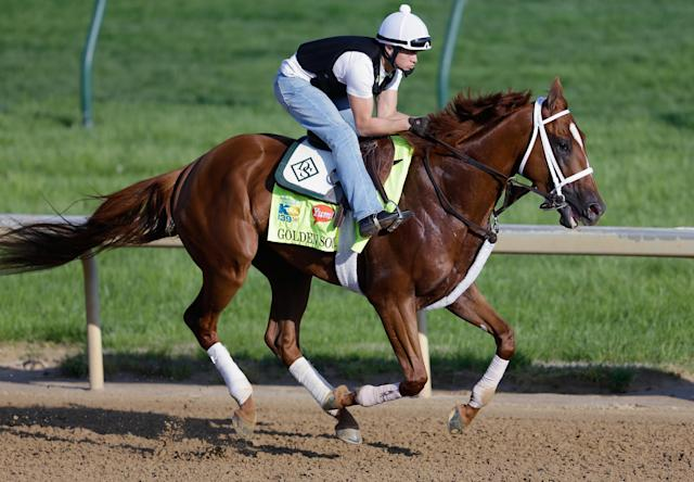 LOUISVILLE, KY - MAY 01: Golden Soul trains on the track in preparation for the 2013 Kentucky Derby at Churchill Downs on May 1, 2013 in Louisville, Kentucky. (Photo by Rob Carr/Getty Images)