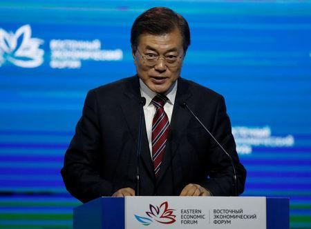 FILE PHOTO: South Korean President Moon Jae-in delivers a speech during a session of the Eastern Economic Forum in Vladivostok, Russia September 7, 2017. REUTERS/Sergei Karpukhin