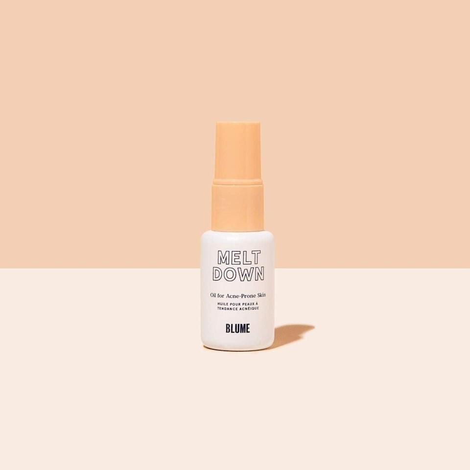 """<p>""""I suspect one reason I'm so comfortable baring my acne-prone face is due to the <span>Blume Meltdown Acne Oil</span> ($28). I used only one drop - not a bit more - for my entire face. It sort of works like the liquid version of an acne patch, sucking the gunk out of your face like a magnet. I went to bed with a little bump forming on my face, and when I woke up the mark was still there, but it looked much less threatening. In less than a week, all active breakouts were gone. I still have some light scarring that I'm treating with other products, but my new complexion is clear enough that I'm willing to trot it around town uncovered. (TMI alert: this formula also works great on stubborn ingrown hairs.)"""" - Alaina Demopoulos, former junior staff writer, Beauty</p> <p>If you want to read more, here is the <a href=""""https://www.popsugar.com/beauty/Blume-Meltdown-Blemish-Treatment-Review-45174593"""" class=""""link rapid-noclick-resp"""" rel=""""nofollow noopener"""" target=""""_blank"""" data-ylk=""""slk:complete Blume Meltdown Acne Oil review"""">complete Blume Meltdown Acne Oil review</a>.</p>"""