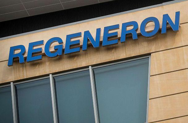 PHOTO: The Regeneron Pharmaceuticals company logo is seen on a building at the company's Westchester campus in Tarrytown, N.Y., on Sept. 17, 2020. (Brendan Mcdermid/Reuters, File)