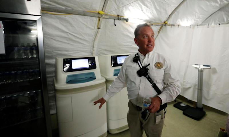 BCFS's CEO, Kevin Dinnin, talks about medical equipment at the Carrizo Springs holding center.
