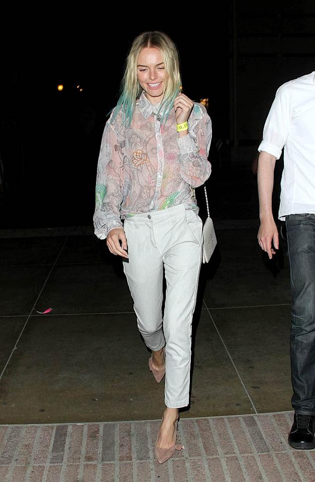 """What's worse, Kate Bosworth's sheer, buttoned-up blouse or her turquoise-tinted tresses? I can't decide; both are blasphemous. MAB/<a href=""""http://www.splashnewsonline.com"""" target=""""new"""">Splash News</a> - August 4, 2011"""