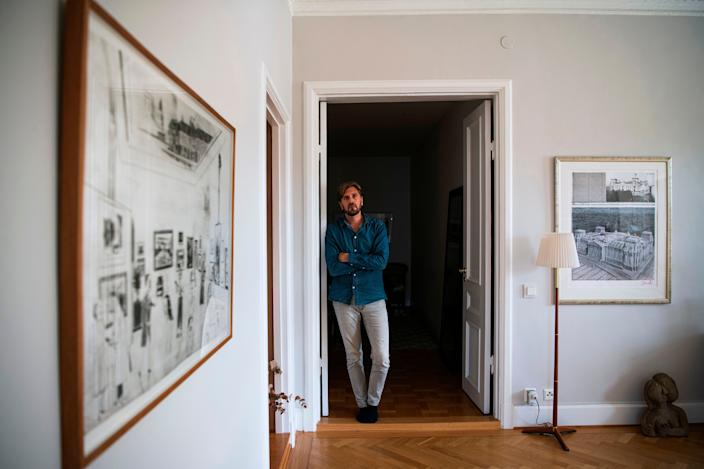 "Swedish director Ruben Ostlund at his home in Gothenburg on August 24, 2020. <p class=""copyright"">Jonathan Nackstran/AFP/Getty Images</p>"