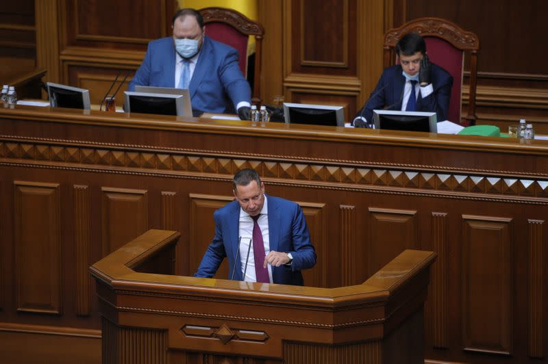 Head of state-run Ukrgasbank Shevchenko attends a session of parliament in Kyiv