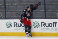 Columbus Blue Jackets' Cam Atkinson celebrates his goal against the Detroit Red Wings during the first period of an NHL hockey game Tuesday, March 2, 2021, in Columbus, Ohio. (AP Photo/Jay LaPrete)