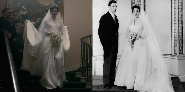 """<p>Princess Margaret's Norman Hartwell wedding dress was recreated almost to a T. Costume designer Jane Petrie said the dress was made in a rush in one week without even so much as a fitting <a href=""""https://www.vanityfair.com/london/photos/2019/01/the-crown-costume-design-jane-petrie"""" rel=""""nofollow noopener"""" target=""""_blank"""" data-ylk=""""slk:in a 2019 interview"""" class=""""link rapid-noclick-resp"""">in a 2019 interview</a>. </p>"""