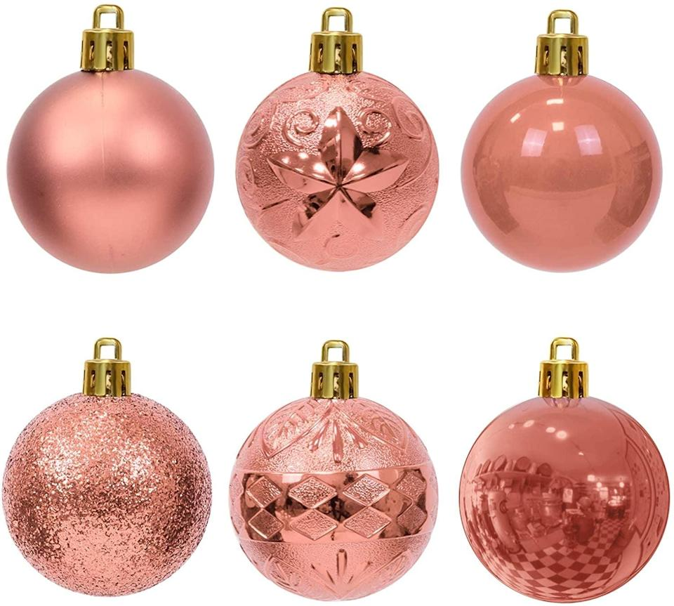 <p>These lightweight <span>WBHome 36ct Christmas Ball Ornaments</span> ($17) are a breeze to hang and will look great on any color tree. </p>