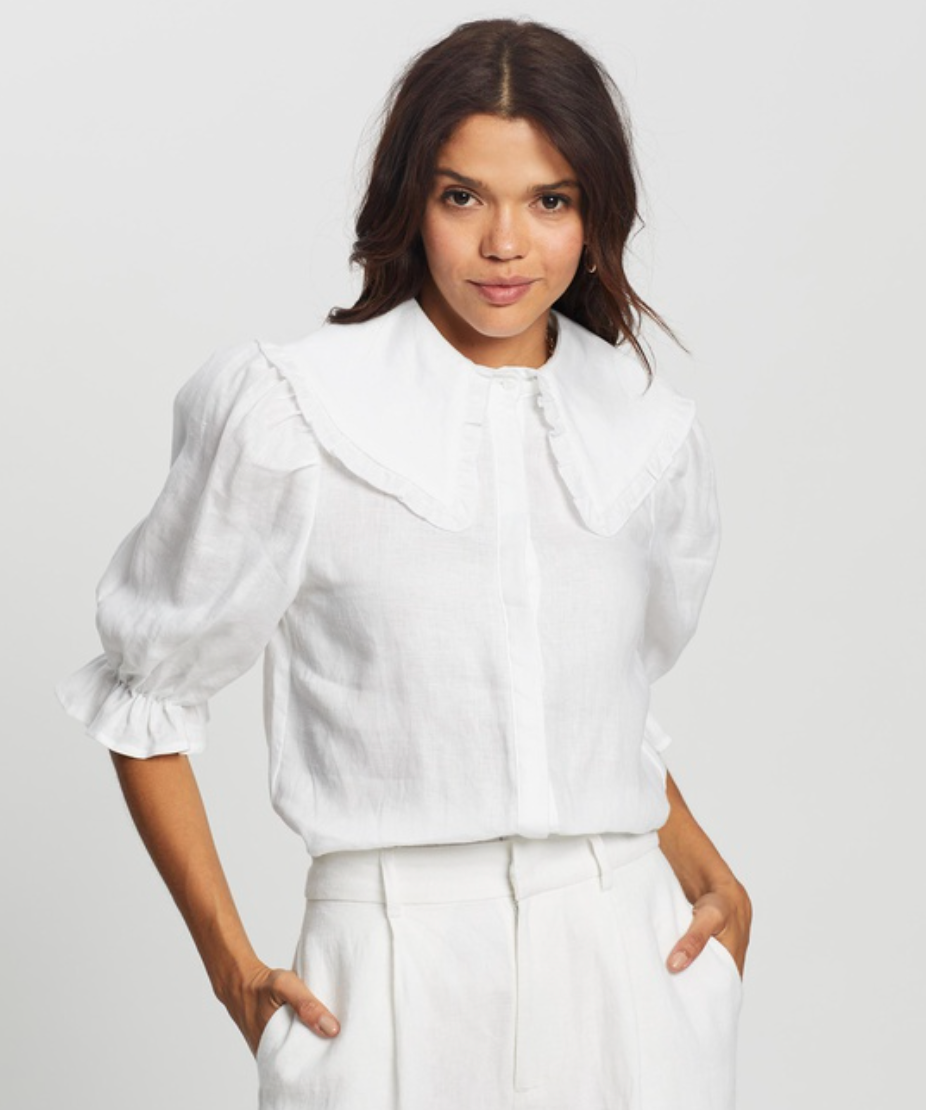 white blouse with puffy sleeves from AERE