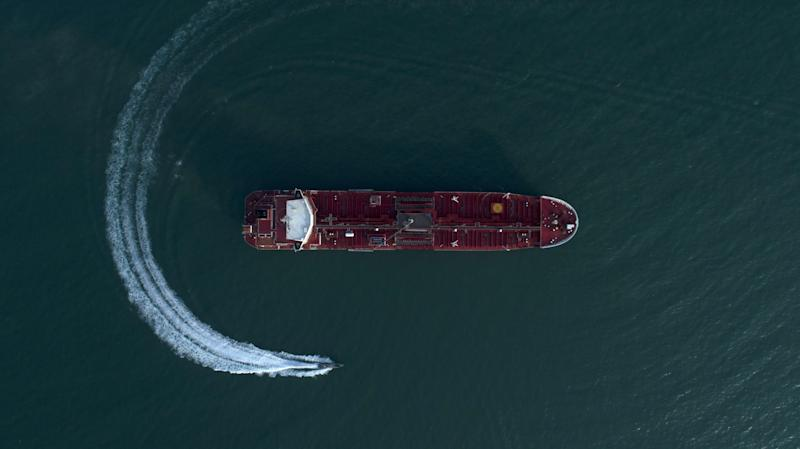 "BANDAR ABBAS, IRAN - JULY 22: Pictures from the semi-official Tasnim news agency show the Stena Impero being seized and detained between July 19 and July 21, 2019 in Bandar Abbas, Iran. The UK-flagged tanker was seized by the Iranian Revolutionary Guard on Friday as it passed through the Strait of Hormuz, a vital regional shipping channel. The Iranian government accused it of violating ""international maritime rules"" but the UK government says it was illegally commandeered while in Omani waters. (Photo by Contributor#072019/Getty Images)"