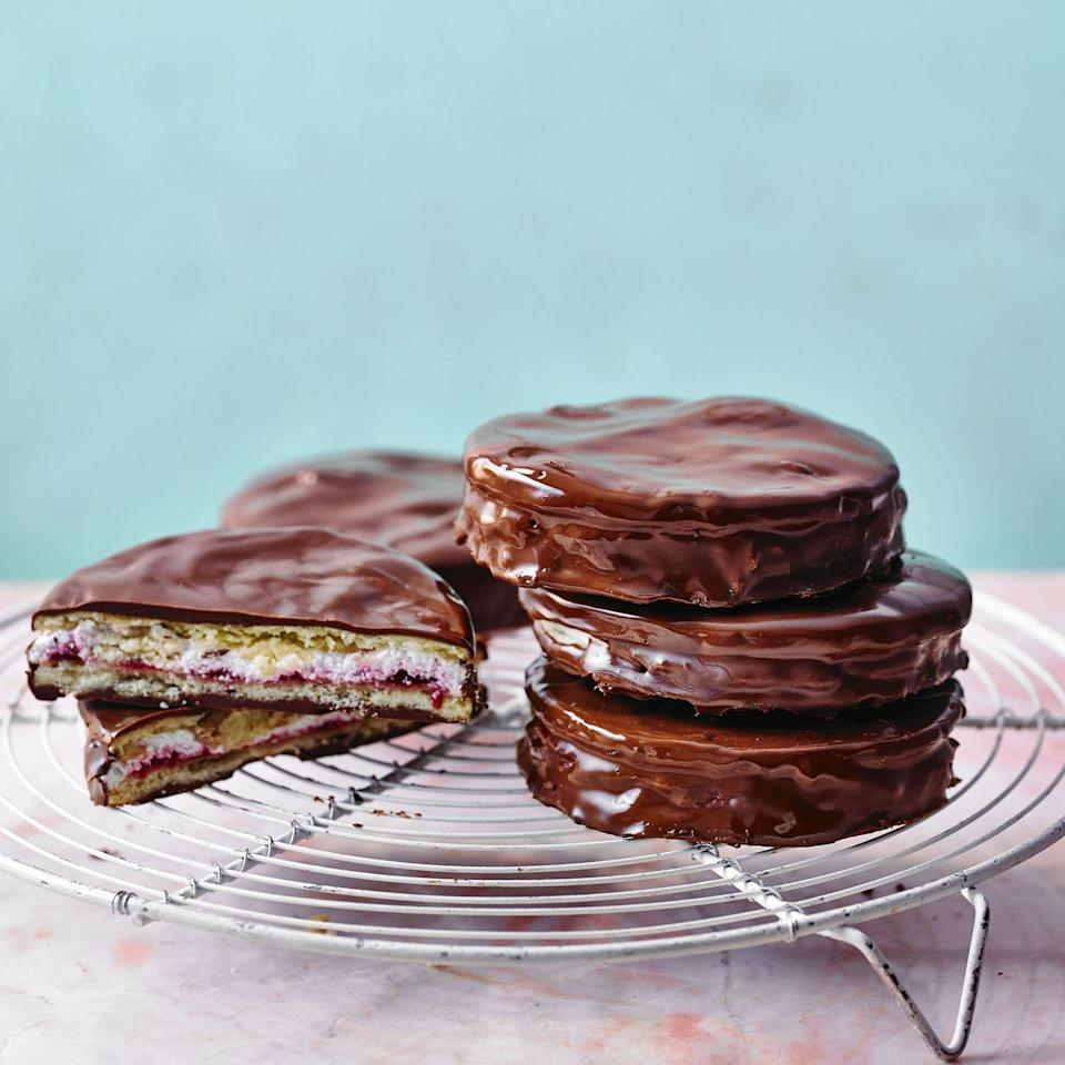 """<p>Decadent and oh-so good with a cuppa. If you don't</p><p><strong>Recipe: <a href=""""https://www.goodhousekeeping.com/uk/food/recipes/a35765377/homemade-wagon-wheels/"""" rel=""""nofollow noopener"""" target=""""_blank"""" data-ylk=""""slk:Homemade Wagon Wheels"""" class=""""link rapid-noclick-resp"""">Homemade Wagon Wheels</a></strong></p>"""
