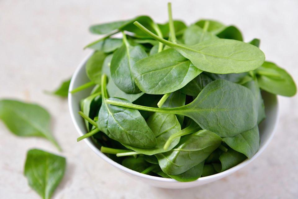 """<p>To grow your own spinach at home, sow into rows about 30cm apart and set the seeds 2.5cm apart.</p><p>Top tip: ensure you grow spinach in light shade during the heat of summer to avoid the leaves turning bitter.  </p><p><strong>Sowing to harvest: 30 days</strong></p><p><a class=""""link rapid-noclick-resp"""" href=""""https://go.redirectingat.com?id=127X1599956&url=https%3A%2F%2Fwww.thompson-morgan.com%2Fp%2Fspinach-medania%2F387TM&sref=https%3A%2F%2Fwww.prima.co.uk%2Fhome-ideas%2Fgardening%2Fg35861874%2Feasy-vegetables-to-grow-quickly-1%2F"""" rel=""""nofollow noopener"""" target=""""_blank"""" data-ylk=""""slk:BUY SPINACH SEEDS"""">BUY SPINACH SEEDS</a></p>"""