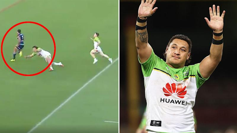 Josh Papalii's try-saver on Jamal Fogarty is being called the tackle of the season. Pic: Fox Sports/Getty