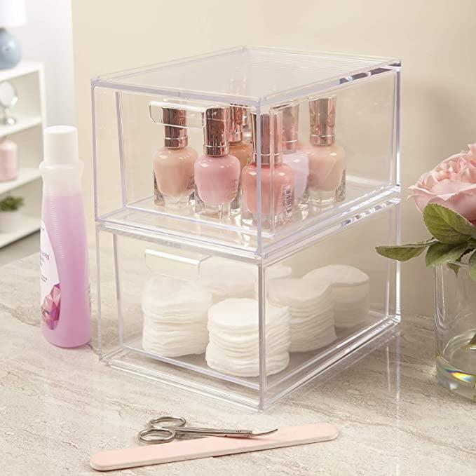 "<p>The <span>STORi Audrey Stackable Cosmetic Organizer Drawers 4-1/2"" Tall Set of 2</span> ($23) let's you store lipsticks, mascaras, foundation bottles, serums and more. It's a great way to organize products in a deep drawer.</p>"