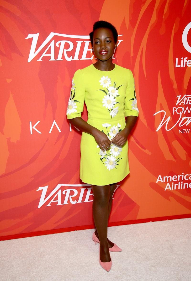 Lupita Nyong'o in Dolce & Gabbana at Variety's Power of Women lunch in New York, New York, April 2016.