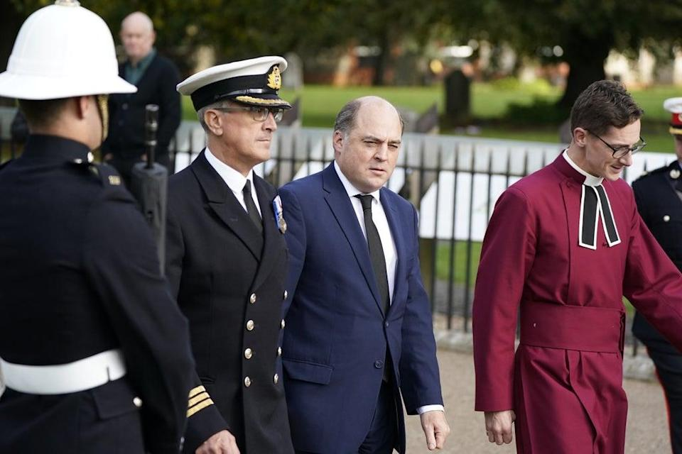 Secretary of State for Defence Ben Wallace (centre) arrives for the funeral (Andrew Matthews/PA) (PA Wire)