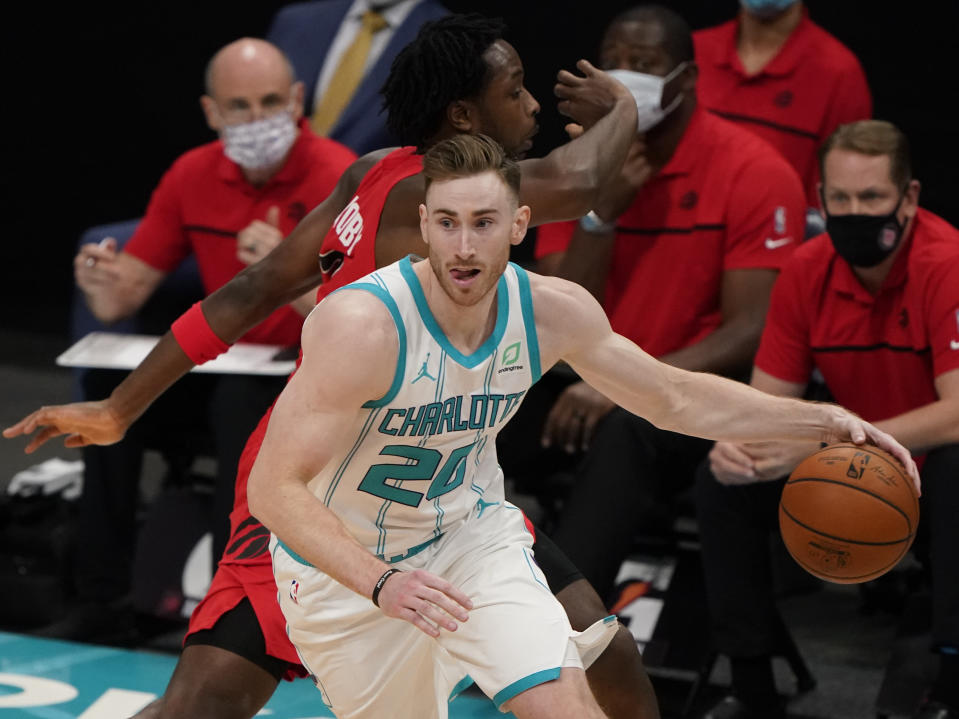 Charlotte Hornets forward Gordon Hayward plays against the Toronto Raptors during the second half of an NBA preseason basketball game in Charlotte, Monday, Dec. 14, 2020. (AP Photo/Chris Carlson)