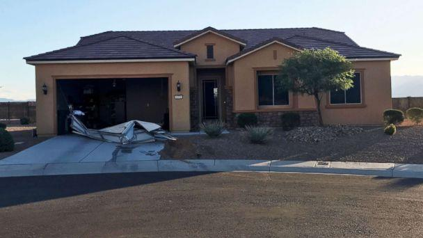 PHOTO: The house in Mesquite, NV, where the suspect in the Las Vegas shooting, Stephen Paddock, lived. Investigators used a robot to remove the garage door during the search, Oct. 2, 2017. (ABC News)