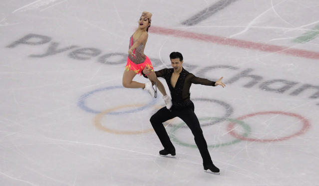 <p>Wang Shiyue and Liu Xinyu of China perform during the ice dance, short dance figure skating in the Gangneung Ice Arena at the 2018 Winter Olympics in Gangneung, South Korea, Monday, Feb. 19, 2018. (AP Photo/Morry Gash) </p>