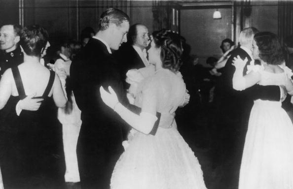 <p>Princess Elizabeth dancing with her fiancé, Philip Mountbatten, in public for the first time at a ball at the Assembly Rooms, Edinburgh in July 1947.</p>