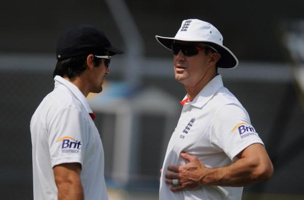 MUMBAI, INDIA - NOVEMBER 01:  Alastair Cook captain of England (L) and  Kevin Petersen walk to field during the final day of the first practice match between England and India 'A' at the CCI (Cricket Club of India) ground, on November 1, 2012 in Mumbai, India.  (Photo by Pal Pillai/Getty Images)