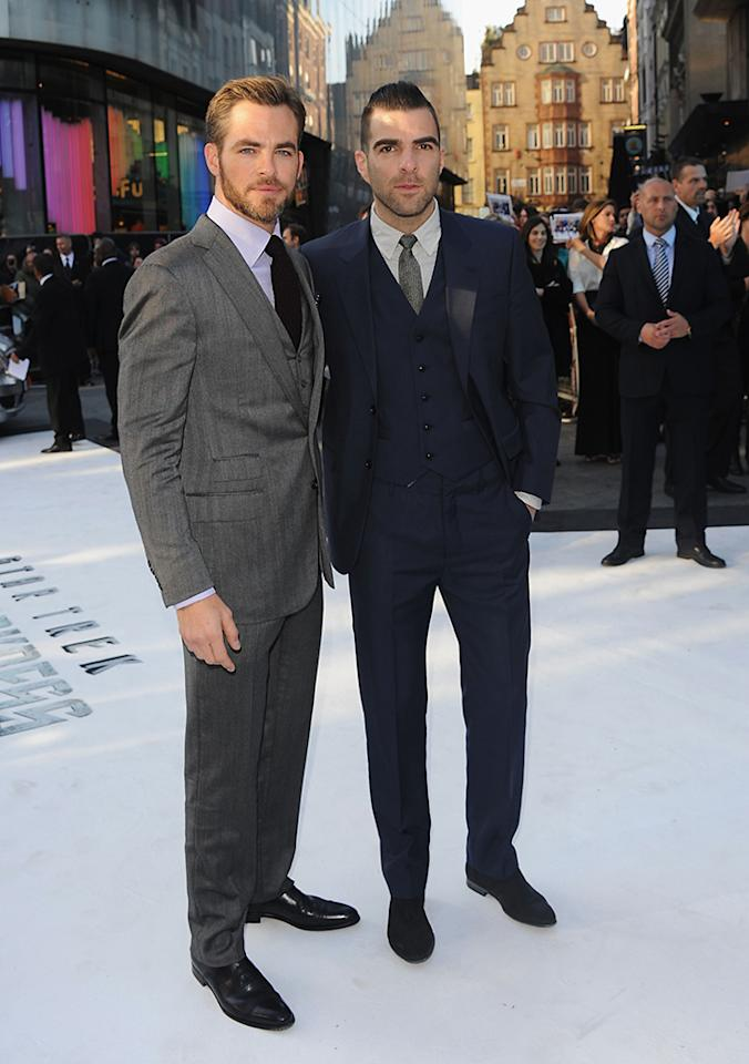 "Chris Pine and Zachary Quinto attend the UK Premiere of ""Star Trek Into Darkness"" at The Empire Cinema on May 2, 2013 in London, England.  (Photo by Stuart C. Wilson/Getty Images for Paramount Pictures)"