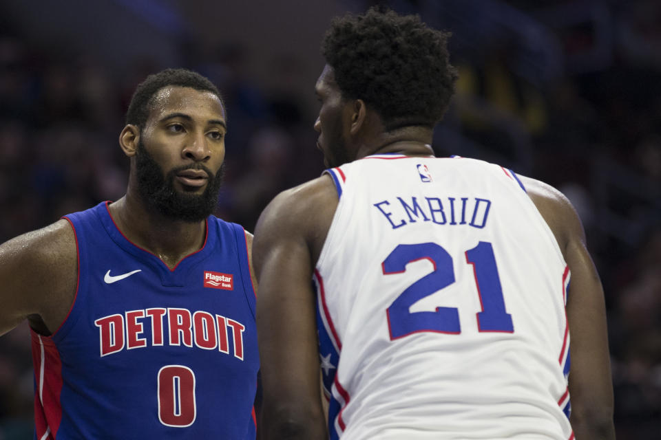 Andre Drummond and Joel Embiid face off.