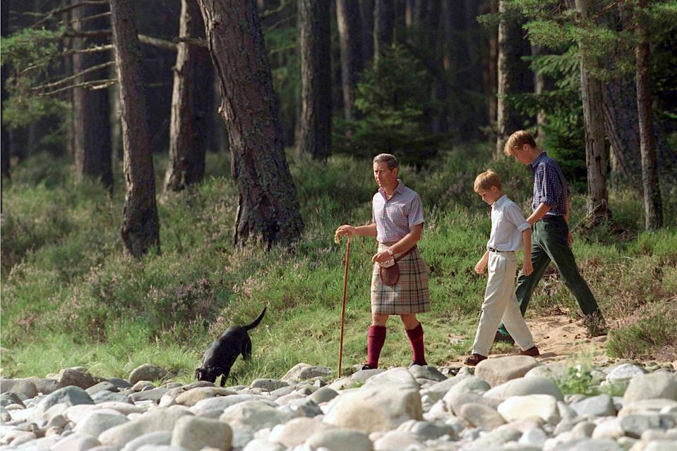 BALMORAL, UNITED KINGDOM - AUGUST 12:  Prince Charles With Prince William & Prince Harry At Polvier By The River Dee, Balmoral Castle Estate  (Photo by Tim Graham Photo Library via Getty Images)
