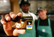 <p>The Starbucks Card became available in 2001, with which you could earn loyalty points and rewards. </p>